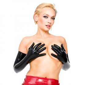 Zwarte latex opera gloves