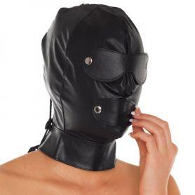 Leren masker met snoerveter