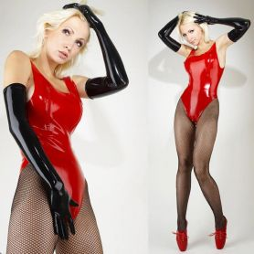 Latex body met borst ritsjes