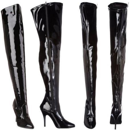 Glanzend zwarte dijhoge laarzen