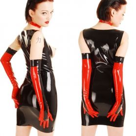 Latex opera gloves tweekleurig