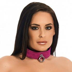 Leren collar roze met O ring