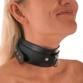 Leren halsband met D ring