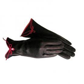 Leren handschoenen met strikje