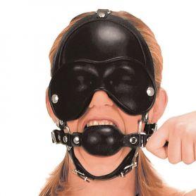 Leren bondage masker