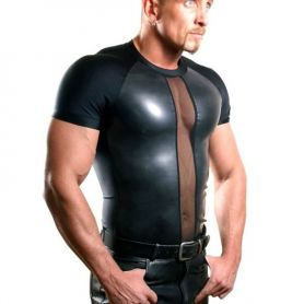 Clubwear shirt met latex frontpanelen