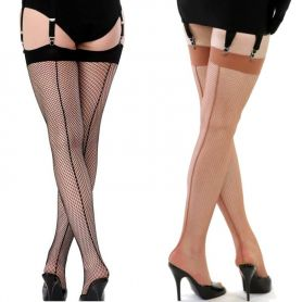 Retro seamed visnet stockings