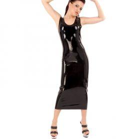 Latex jurk mouwloos
