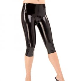 Latex legging driekwart met ritsje