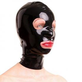 Latex masker met grote oog opening en rits