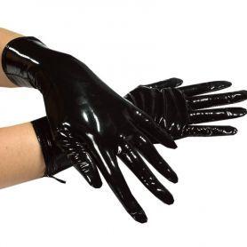 Korte lak handschoenen met ritsjes