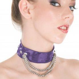 Paarse lak halsband met metalen ketting