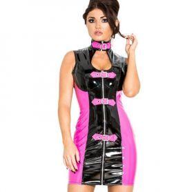 Zwart roze jurkje met gespen