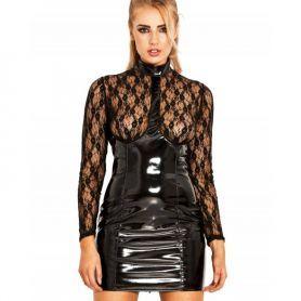 Lak jurk met transparante top