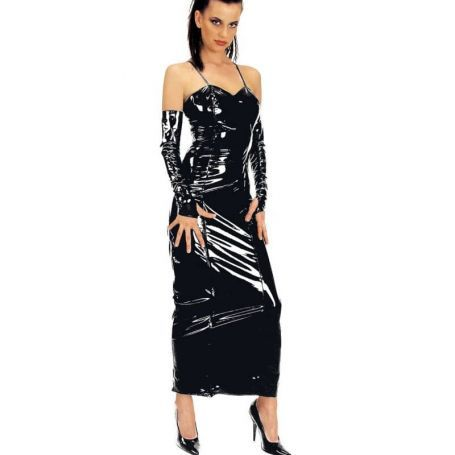 Lak jurk met lange ritsen