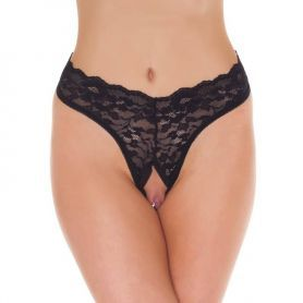 Zwarte hi-waist string met open kruisje