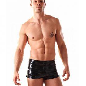 Zwarte lak boxer met splitjes aan de pijp