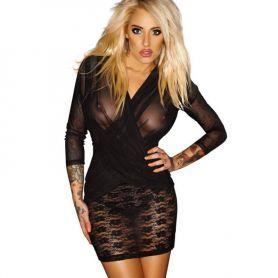 Zwart jurkje met wrap look