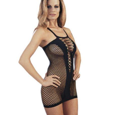 Zwart elastisch jurkje in net optiek