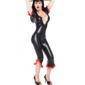 Wetlook jumpsuit met lak