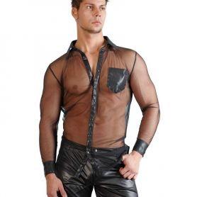 Transparant shirt met wetlook afwerking