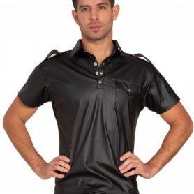 Vegan lederen shirt met borstzak