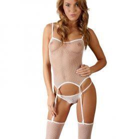 Witte net outfit met jarretels
