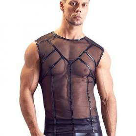 Transparant shirt met glimmende biezen