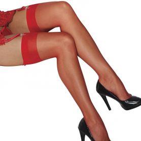 Rode nylons met verstevigde rand
