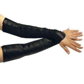Leren armstulpen met stretch
