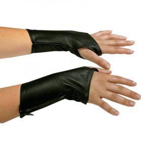 Leren handstulpen met ritsje