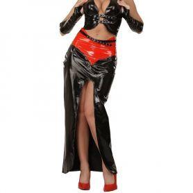 Lak rok met riem en ritssluiting