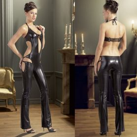 Wetlook catsuit met nekhalter