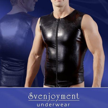 Mouwloos leatherlook shirt