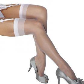 Witte nylons met verstevigde rand