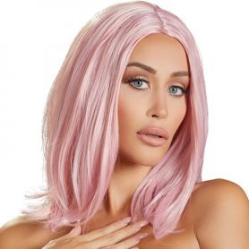 Pruik roze halflang