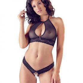 Zwarte lingerie set bralette en string